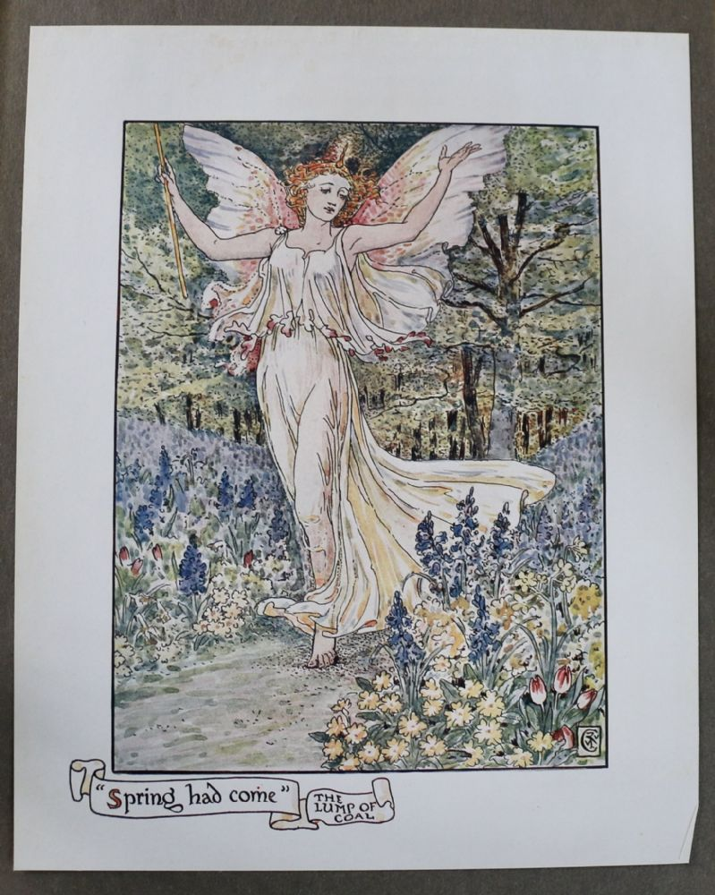 "Original 1909 Colour Plates by Walter Crane featuring beautiful fairy entitled: ""Spring had come"""